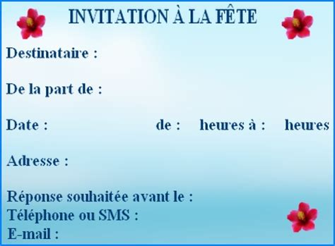 Exemple De Lettre D Invitation A Une Fete Modele Invitation A Une Fete Document