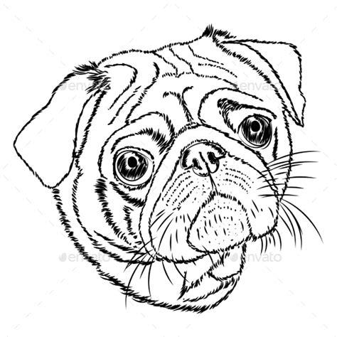 outline of a pug pin pug outline on