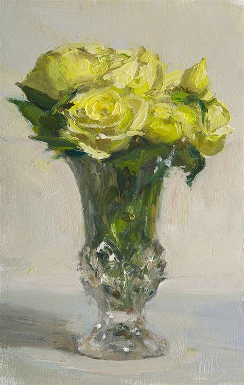 Painting Of Roses In Vase by Daily Paintings White Roses In A Vase Postcard From