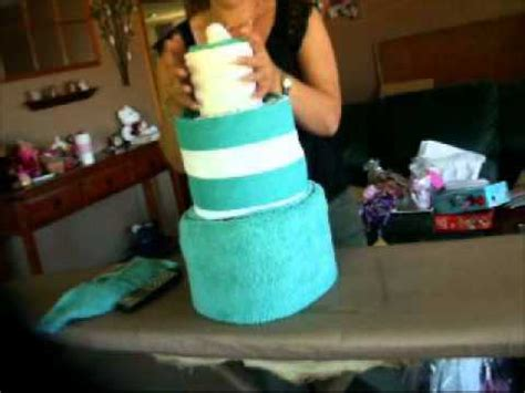 how to make a tea towel cake for bridal shower how to make a towel cake finished rolling wmv