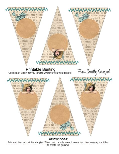 vintage bunting template banners buntings pennants sweetly scrapped s free