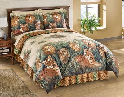 Sprei Set Size Safari wildcats jungle comforter set with bedskirt from