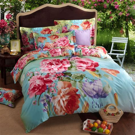 colorful bedspreads wholesale fashion colorful big flower blue king size