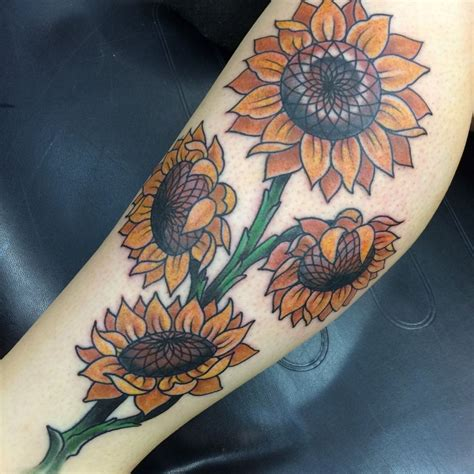 traditional sunflower tattoo draketattoo sunflowers sunflower flower flowers