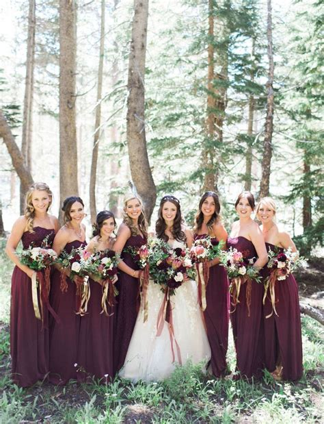 Wedding Dress Maroon by Fall Wedding Inspiration Maroon Bridesmaids In Wine