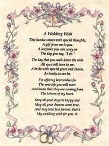 wedding wishes poem wedding hankie a wedding wish from friends to the with poem
