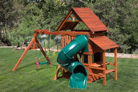 playhouse with swing set wooden playset with playhouse swing