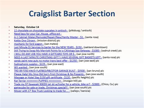 Craigslist Barter Section Osaturday October 14 O12