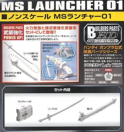 Builders Parts Hd Ms Blade 01 By Bandai T2909 b 189575 builders parts hd ms launcher 01 for bandai 1 144