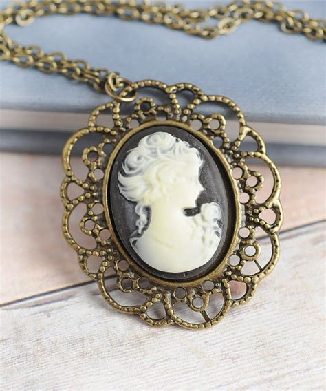cameos for jewelry cameo cameo necklace jewelry gift black cameo