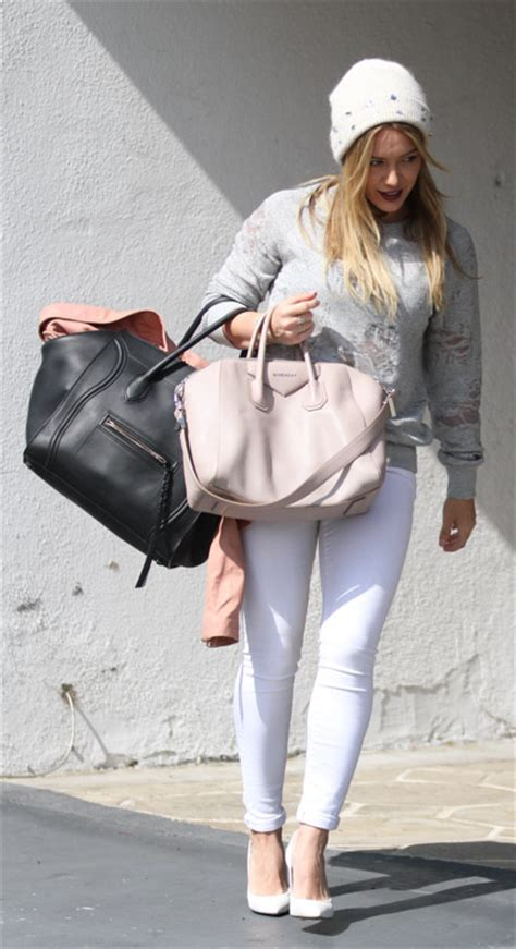 hilary duff carries  celine  givenchy   gym