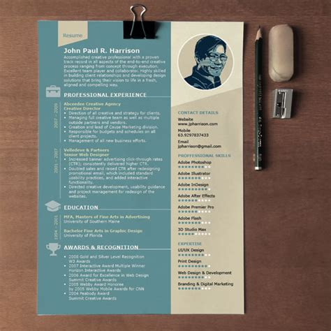 free 1 page indesign resume template designfreebies
