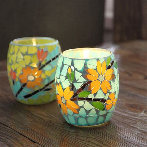 Handcrafted Candle Holders - handcrafted mosaic glass pastorale flowers candlestick