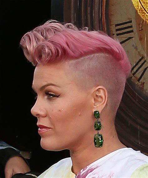 Pink Short Curly Alternative Mohawk Hairstyle   Pink
