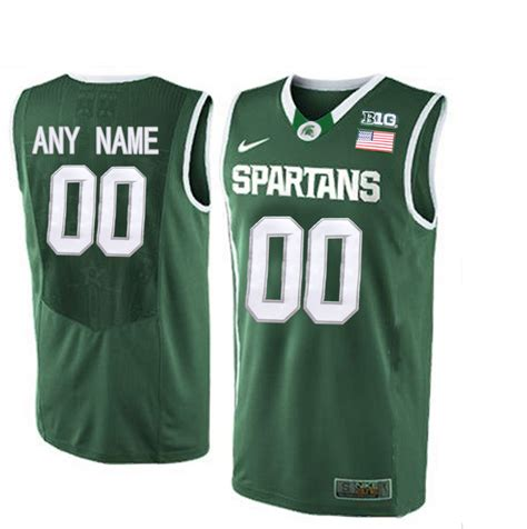 customized jersey ncaa basketball new michigan state spartans green men s customized college