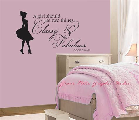 wall decals for girls bedroom classy and fabulous wall decal coco chanel wall quote girls room wall decal 24 00 via