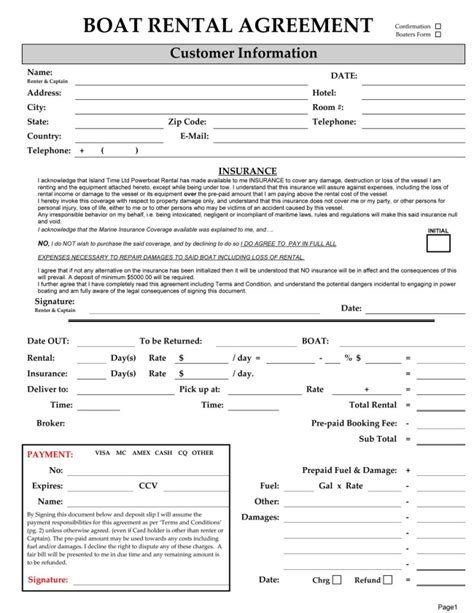 30 Basic Editable Rental Agreement Form Templates Thogati Free Boat Agreement Template