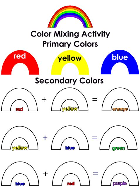 printable color games for kindergarten rainbow colors primary and secondary colors mixing