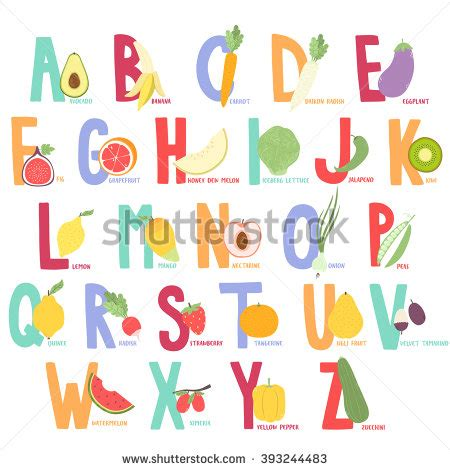 fruit 10 letters fruits vegetables alphabet stock vector