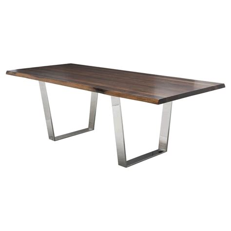 Cogsworth Industrial Brown Oak Stainless Steel Dining Steel Dining Table