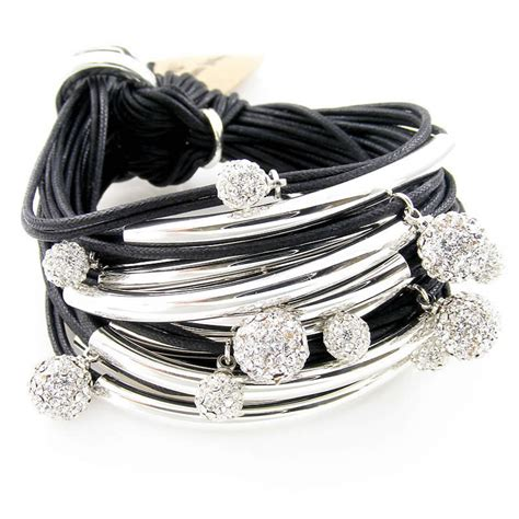 Gillian Julius Multi Tube Bracelet Silver Diamond Black   RB24S BLK