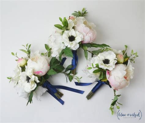 And Bridesmaid Flower Bouquets by Bridesmaid Bouquet Silk Flower Bouquet Peony Bouquet