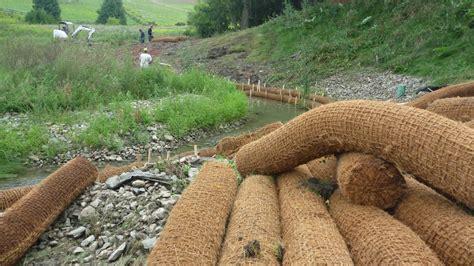 Coir Fiber Matting Erosion by Coir Mats And Logs Terrafix Geosynthetics Inc