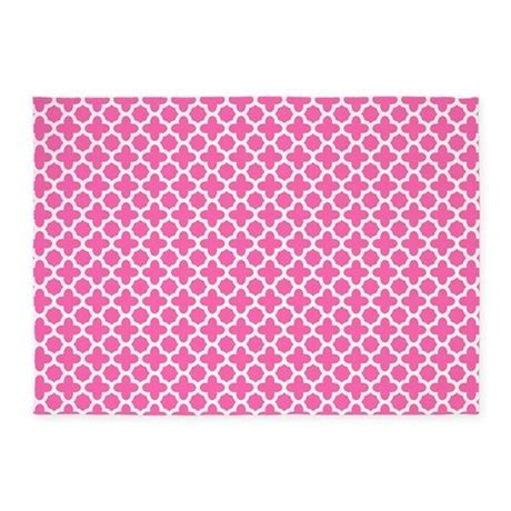 white pattern area rug white on hot pink quatrefoil pattern 5 x7 area rug by