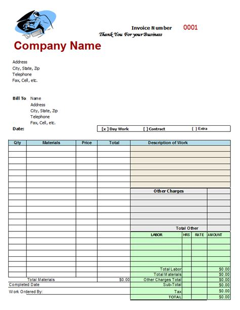 printable auto invoice mechanic invoice template free invitation template