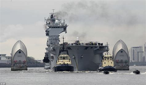 biggest battleships in the world the biggest ship in london hms ocean heads up the thames