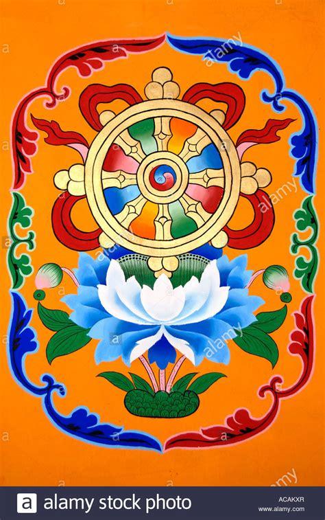 buddhist symbol lotus flower tibetan buddhism painting symbol wheel of above lotus