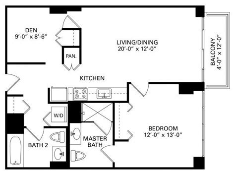 chicago apartment floor plans 1 bedroom plus den floor plan of property trio in chicago