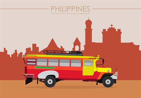philippine jeep drawing jeepney philippines illustration free vector