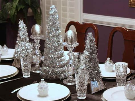 silver holiday table decor photograph silver christmas