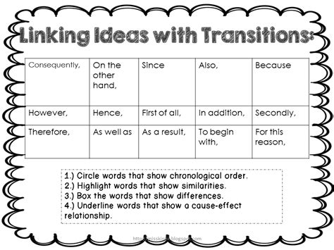 Transition Words 5th Grade Worksheet 13 best images of transition words worksheet answers