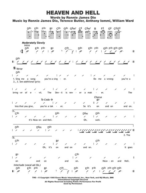 strumming pattern for line to heaven heaven and hell sheet music by black sabbath ukulele with