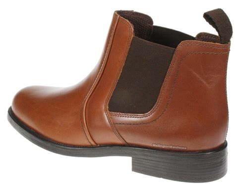 mens brown leather pull on chelsea dealer boots
