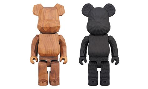 fragment design  medicom toy team    incredible carved wooden bearbricks highsnobiety