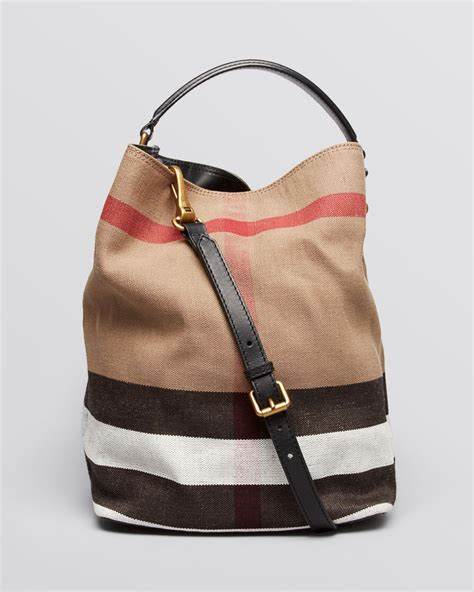 Burberry Check Canvas Hobo burberry canvas check medium ashby hobo in brown lyst