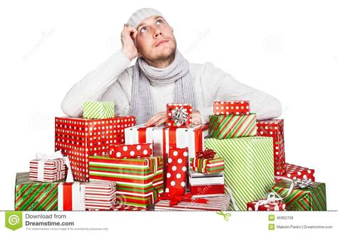 Gift Cards For Young Men - young man with gifts stock photo image 46962708
