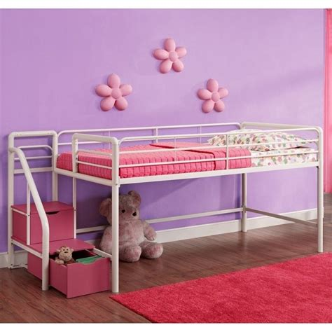Metal Bunk Beds With Storage Metal Loft Storage Steps Bed In White And Pink 5512098