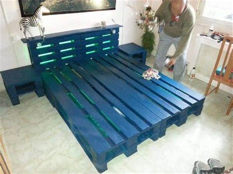 pallet bed frame with lights diy wooden pallet bed with lights 99 pallets