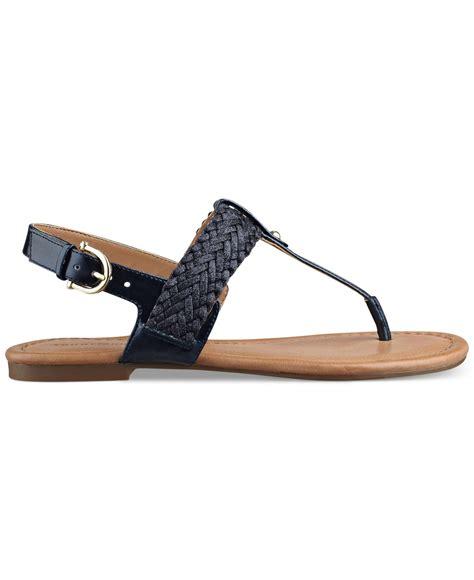 navy sandals flat hilfiger s saycn flat sandals in blue lyst