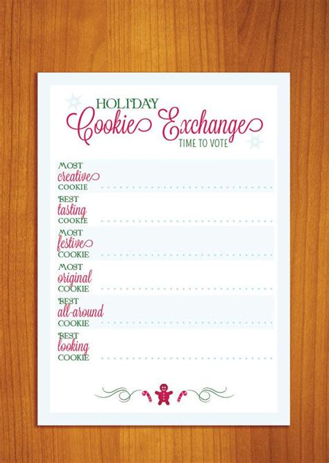 cookie exchange recipe card template best photos of cookie exchange spreadsheet free cookie