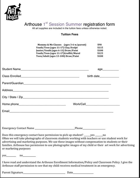 class registration template arthouse summer cs