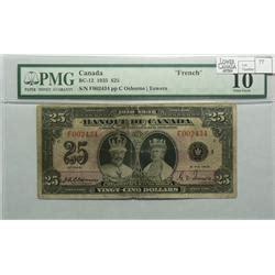 twenty five dollars 1935 twenty five dollars french bc 12 pmg vg 10 osborne