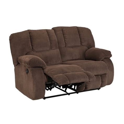 Ashley Roan Fabric Reclining Loveseat In Cocoa 3860486 Fabric Reclining Sofas And Loveseats