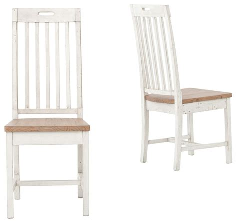coastal rustic white wood dining room chair set of