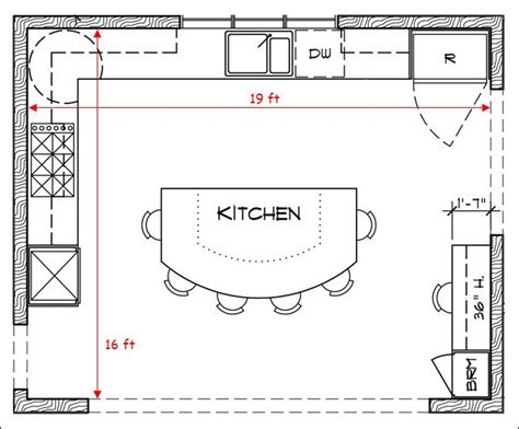 Kitchen Layout Square L Shaped Kitchen Floor Plans With Island And Some Stool