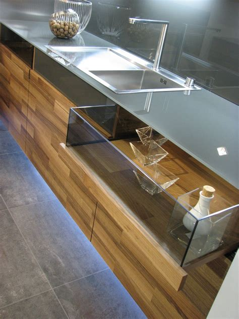 Glass Drawers by Beautiful Kitchen Design In Wood With Daring Glass